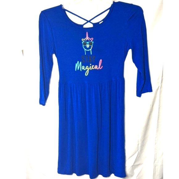 JUSTICE Blue Stay Magical Unicorn Dress 14/16 plus